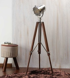 Ethnic Roots Nickel Finish Silver Metal Floor Tripod Lamp - 1351224