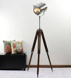 Ethnic Roots Nickel Finish Silver Metal Floor Tripod Lamp - 1351214