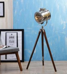 Ethnic Roots Nickel Finish Wooden Brown Tripod Floor Lamp