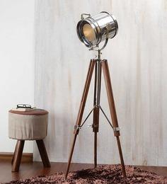 Ethnic Roots Nickel Finish Silver Metal Floor Tripod Lamp - 1351200
