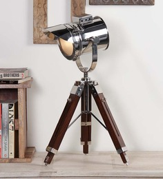 Ethnic Roots Nickel Finish Silver Metal Table Tripod Lamp - 1351147