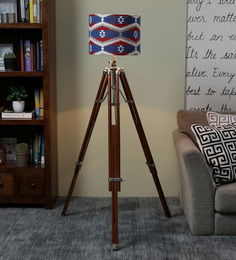 Ethnic Roots Red & Blue Cotton Floor Lamp - 1566755