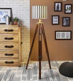 Ethnic Roots White & Black Cotton Floor Lamp
