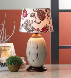 Ethnic Roots White Cotton Table Lamp - 1566837