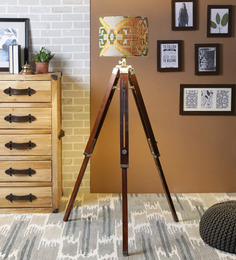 Ethnic Roots Yellow & Green Cotton Floor Lamp - 1566788