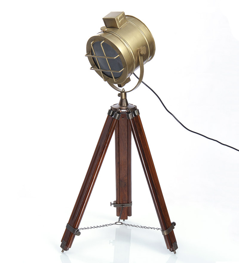 Ethnic Roots Brass Brown Metal Floor Tripod Lamp By Ethnic