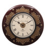 Ethnic Clock Makers Black MDF & Metal 16 Inch Round Brass & Copper Fit Handmade Wall Clock