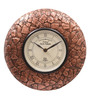 Ethnic Clock Makers Brown MDF & Metal 10 Inch Round Copper Stone Handmade Wall Clock