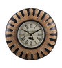 Ethnic Clock Makers Brown Metal & MDF 10 Inch Round Hand Painting Wall Clock
