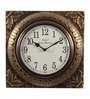Ethnic Clock Makers Brown Metal & MDF 12 x 1.5 x 12 Inch Brass Carved Wall Clock