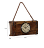 Ethnic Clock Makers Brown Solid Wood 12 x 4 x 5.5 Inch Block Design Vintage Wall Clock