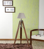 Ethnic Roots Beige & Brown Cotton Sheesham Wood Tripod Floor Lamp