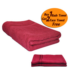 Eurospa Red Cotton Bath Towel - Set of 2 (Get 2 Face Towels Free)