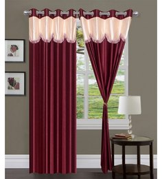 Exporthub Beautiful Fancy Eyelet Door Curtain (Set Of 2)- Red Layered