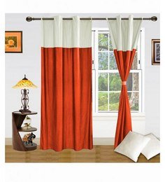 Exporthub Orange  Eyelet Door Curtain (Set Of 2)
