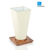 ExclusiveLane White & Brown Sheesham Wooden Conical Table Lamp