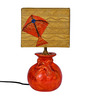 ExclusiveLane Orange & Gold Polyvinyl & Terracotta Kite Potli Lamp