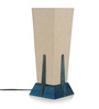 ExclusiveLane Cream & Blue Polyvinyl & Wood Lamp