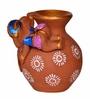 Exclusivelane Brown Terracotta Hand Painted Baby Ganesha Rolling on The Matki