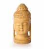Exclusivelane Brown Wood Handmade Carved Buddha Showpiece