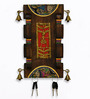 Exclusivelane Brown Mango Wood & Brass Dhokra Figurine Madhubani Hand painted Key Holder