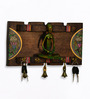 Exclusivelane Brown Mango Wood & Brass Elegant Key Holder