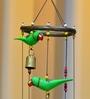 Exclusivelane Green Wood & Copper Handmade Parrots Wind Chime Cum Decorative Hanging