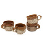 ExclusiveLane Handcrafted Studio 130 ML Pottery Brown Ceramic Tea Cup Set - Set of 4