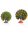 Exclusivelane Multicoloured Metallic Dancing Meenakari Peacock Showpieces - Set of 2