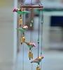 Exclusivelane Multicolour Wood & Copper Handmade Birds Wind Chime Cum Decorative Hanging