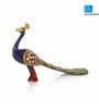 Exclusivelane Royal Blue Metal Meenakari Peacock Set Showpieces - Set of 2