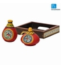 ExclusiveLane Terracotta Warli Brown Wood 400 ML Salt and Pepper Shaker