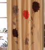 Eyda Gold Polyester 53 x 84 Inch 3D Flower Door Curtains - Set of 2