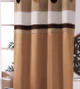 Eyda Gold Polyester 53 x 84 Inch Ribbon Circle Black Out Door Curtains - Set of 2
