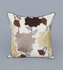 Eyda Ivory Polyester 16 x 16 Inch 3D Flower Cushion Cover