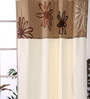 Eyda Ivory Polyester 53 x 84 Inch Satin Tape Black Out Door Curtains - Set of 2