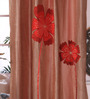 Eyda Red Polyester 53 x 84 Inch Bold Poppy Door Curtains - Set of 2