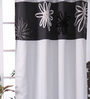 Eyda Silver Polyester 53 x 84 Inch Satin Tape Black Out Door Curtains - Set of 2