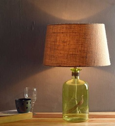 Fabuliv Green Table Beige Cotton Table Lamp
