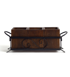 Fabuliv Dion Walnut Wood And Metal 16 X 5 X 6 Inch Cutlery Holder - Set Of 3 - 1435632