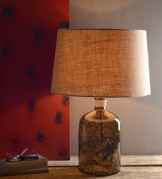 Fabuliv Amber Beige Glass & Cotton Table Lamp