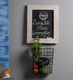 Fabuliv Loren's Wood & Metal Chalkboard With Wire Basket