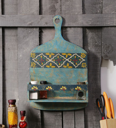 Fabuliv Vintage Multicolour Wooden Hand Painted Wall Shelf
