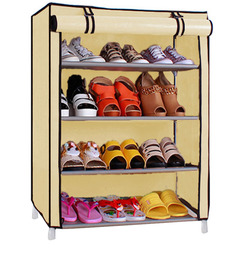 Fancy Four Layer Foldable Shoe Rack Organizer in Cream Colour by Pindia