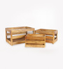 Fabuliv Brown Mango Wood Crate Basket Set - Set of 3
