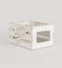 Fabuliv Mango Wood & Iron Distress White Crate Basket - Set of 3
