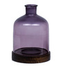 Fabuliv Purple Wood & Glass Candle Stand