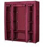 Fancy Triple Door Large Portable Multipurpose Waterproof Fabric Wardrobe in Maroon Colour by YUTIRITI