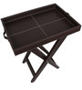 Faux Leather Tray Cum Coffee Table in Brown Color by The Decor Mart