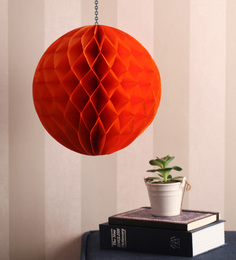Festive Collection Orange Metallic Paper Folding Honeycomb Pom Decoration Balls - Set Of 4